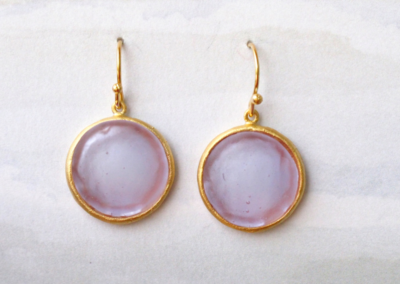 Round Cast Glass Drop Earrings in Lavender